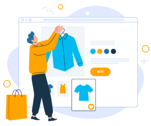 Illustration of person shopping online. Cross over of real life shopping with ecommerce