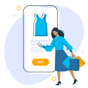 Illustration of woman shopping on online her phone carrying shopping bags