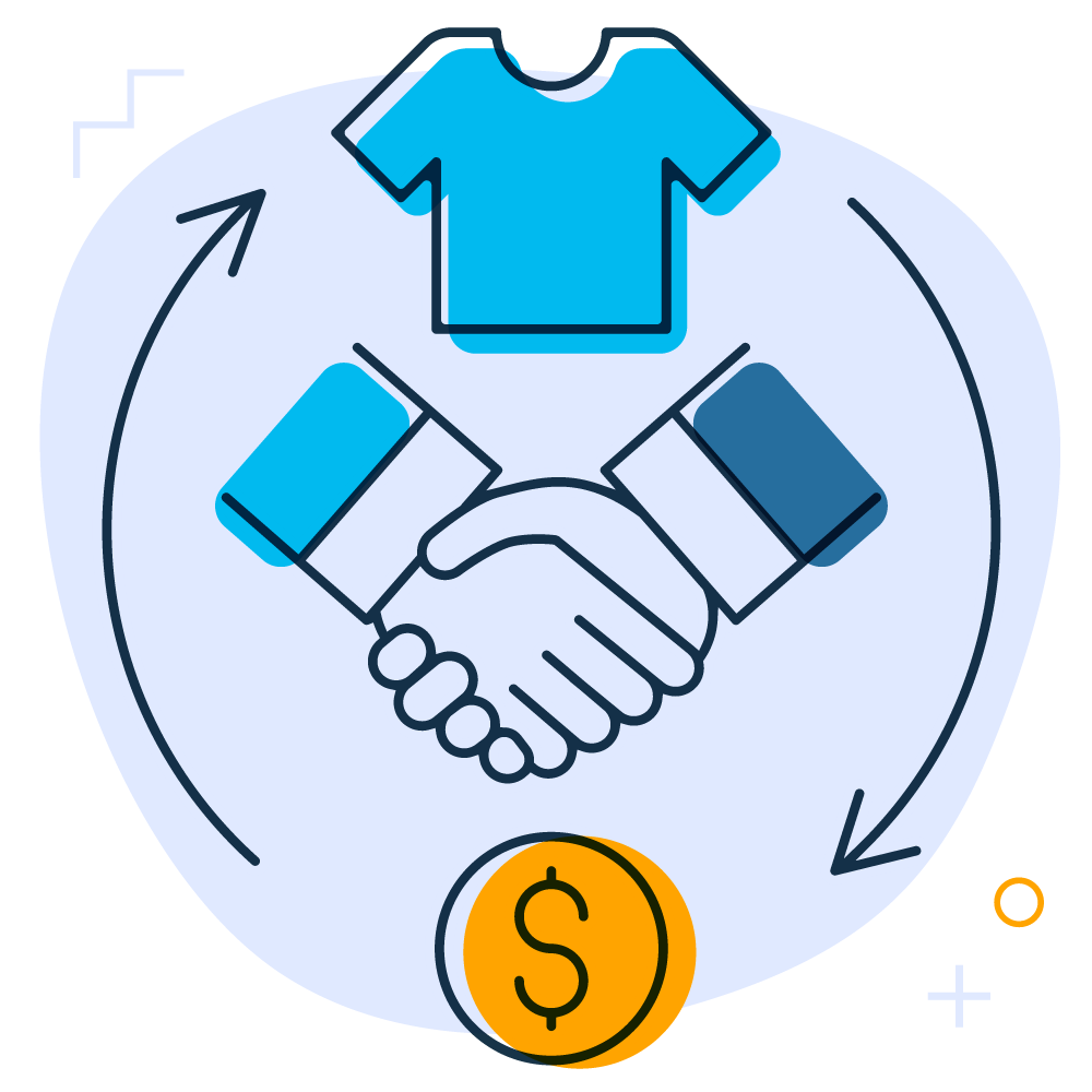 Illustration of the buying cycle showing two business mens' hands shaking in the middle of the image. Surrounded by the buying cycle online/ecommerce showing a blue t-shirt (top) pointing to a gold coin representing income on the bottom of the graphic