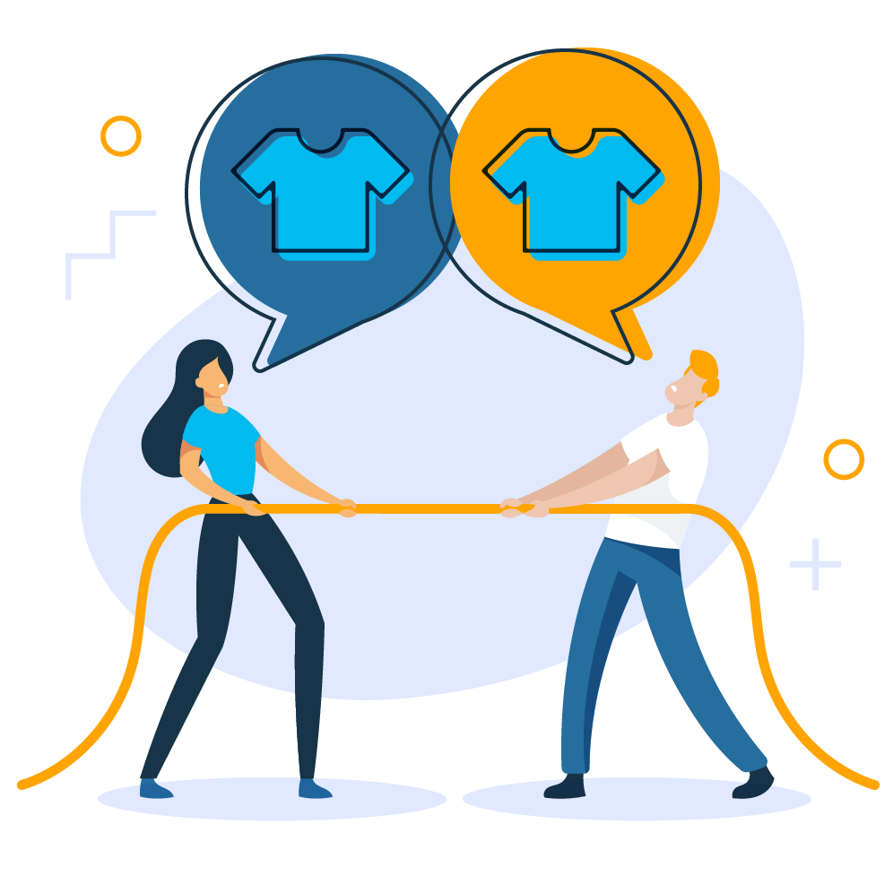 Illustration of a woman (left) and man (rights pulling on a rope in opposite directions. Two chat bubbles above with illustrated shirts (identical)