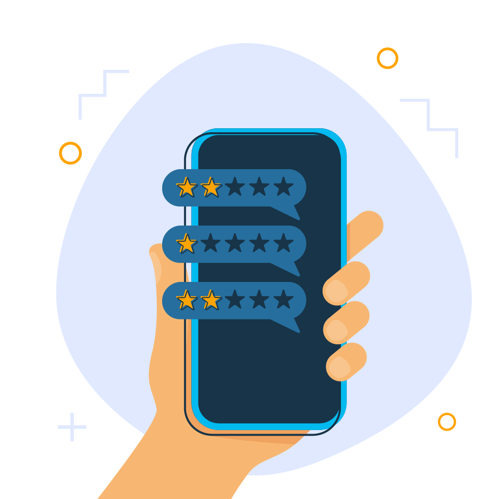 Illustration of phone with three review pop out thought bubbles the first saying 2/5 stars, the second 1/5 stars, and the third 2/5 stars being held in a hand illustrating the importance of reviews within the ecommerce/online/internet marketplace