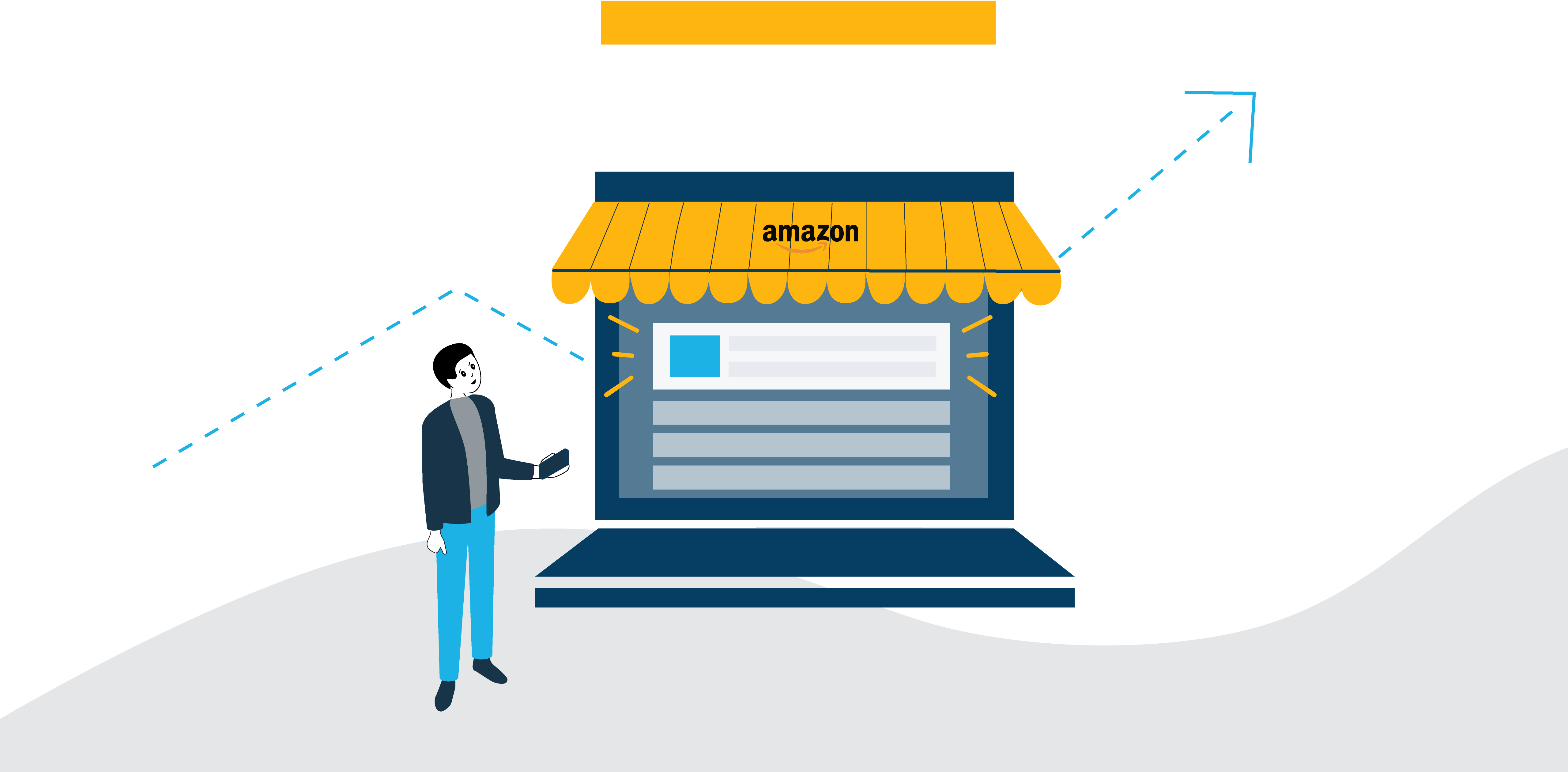Image of man standing outside of an Amazon store holding a phone. Viewing Amazon ads online