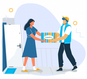 Illustration of a woman accepting an e-commerce product in package from a delivery man on her front doorstep
