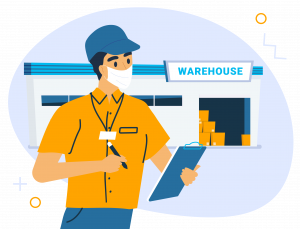 Illustration of man wearing mask holding clip board checking on a warehouse product shipping