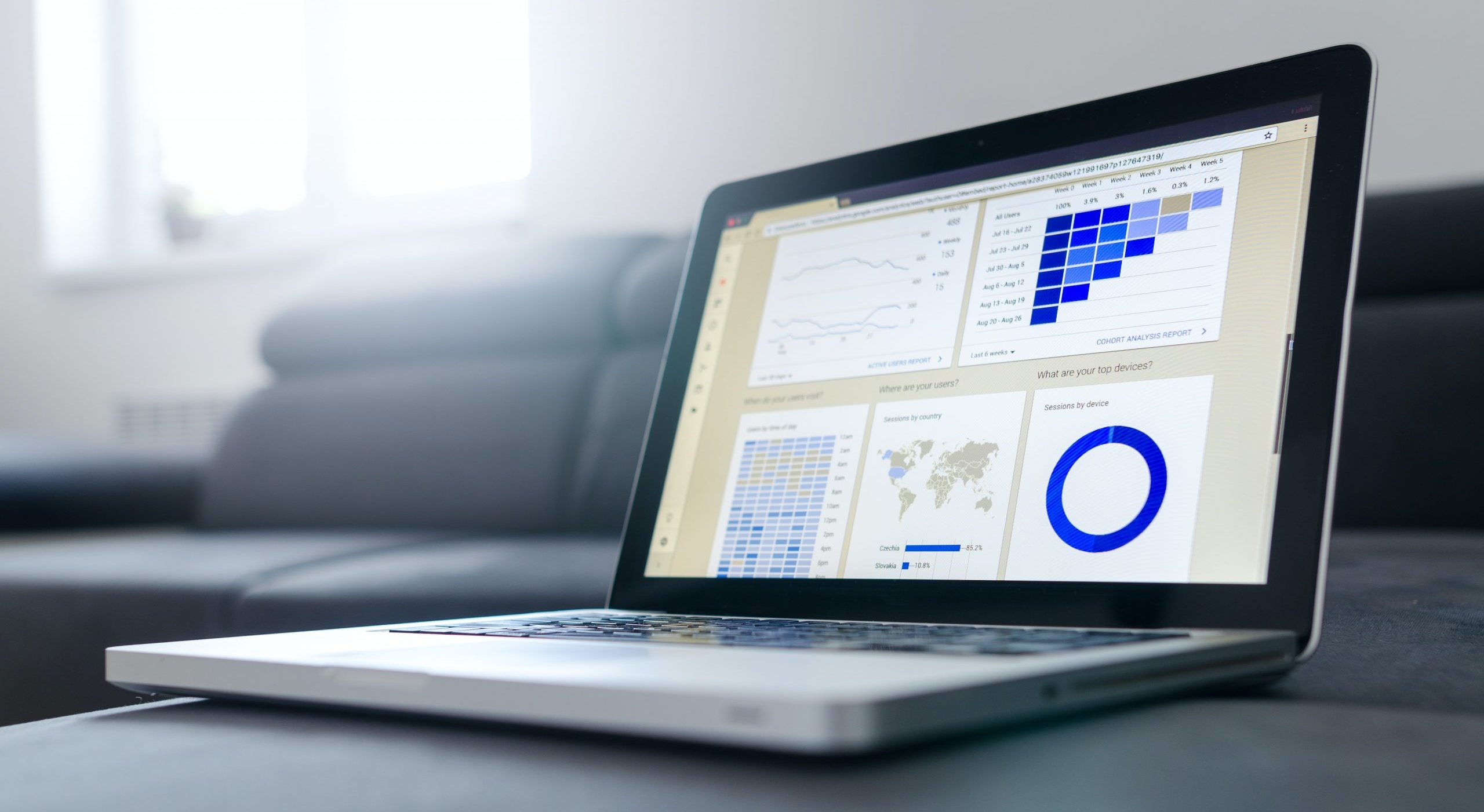 Image of laptop with data analytics on the screen