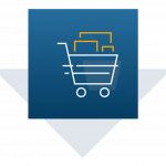image of moving shopping cart holding product boxes