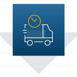 Image of delivery truck and clock icon