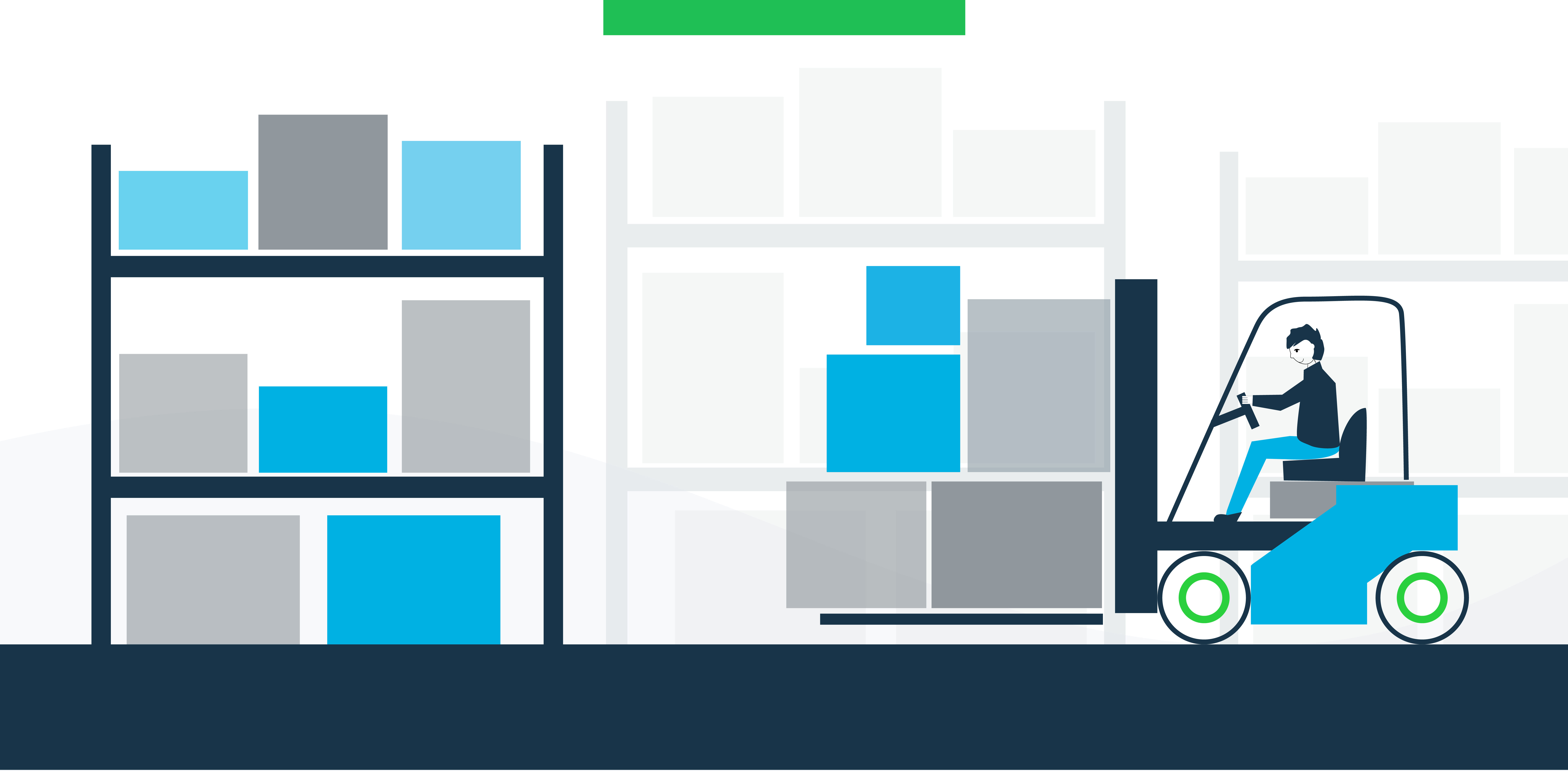 Illustration of person on forklift in a warehouse moving packages