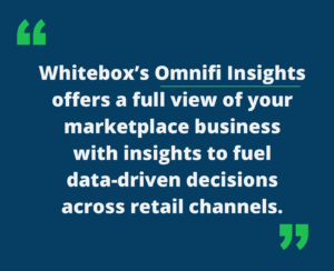 """Quote that says, """"Whitebox's Omnifi Insights offers a full view of your marketplace business with insights to fuel data-driven decisions across retail channels."""""""