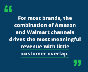 """Quote """"For most brands, the combination of amazon and Calmat channels drive the most meaningful revenue with little customer overlap"""""""