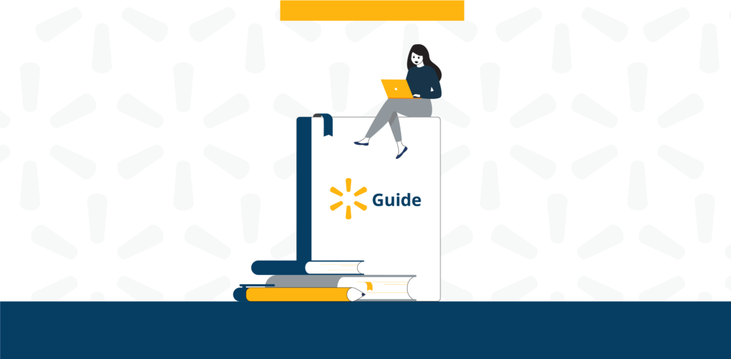 """Woman sitting on an upright book that says """"guide"""" she is on her computer running her Walmart ecommerce marketplace. entire image is illustrated"""