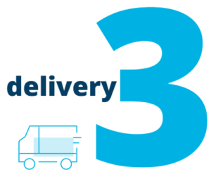 """Image of the number three and """"delivery"""" next to a delivery truck"""