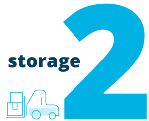 """Image of the number two and """"storage"""" next to a forklift moving packages"""